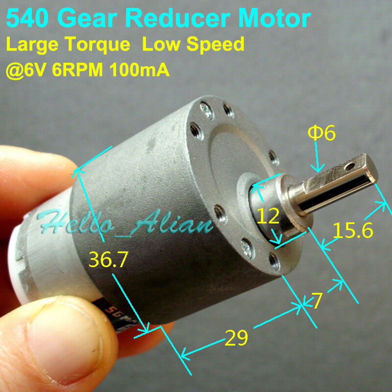 Dc 6v 6rpm low speed high torque metal gearbox gear motor for Low speed dc motor 0 5 6 volt