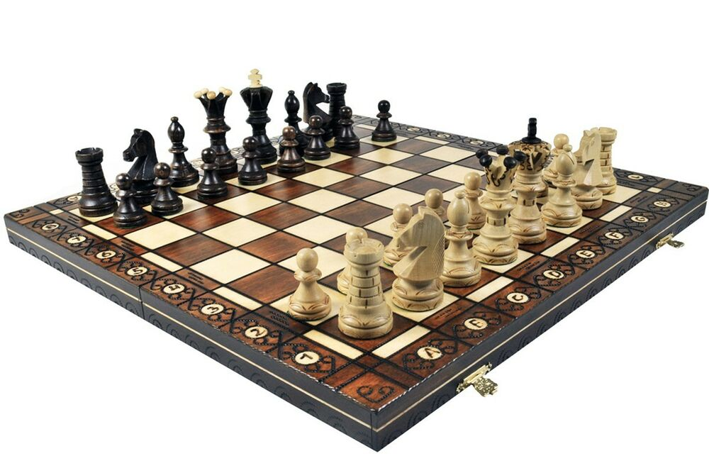 X Large Ambassador Wooden Chess Handcrafted Board Wood Ebay