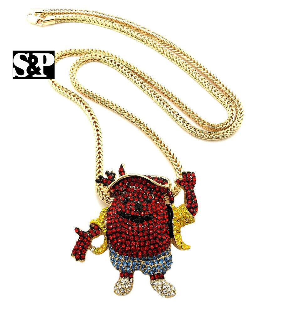 HIP HOP 3 TYPES OF ICED OUT KOOL AID PENDANT W/ 4mm/36 ...