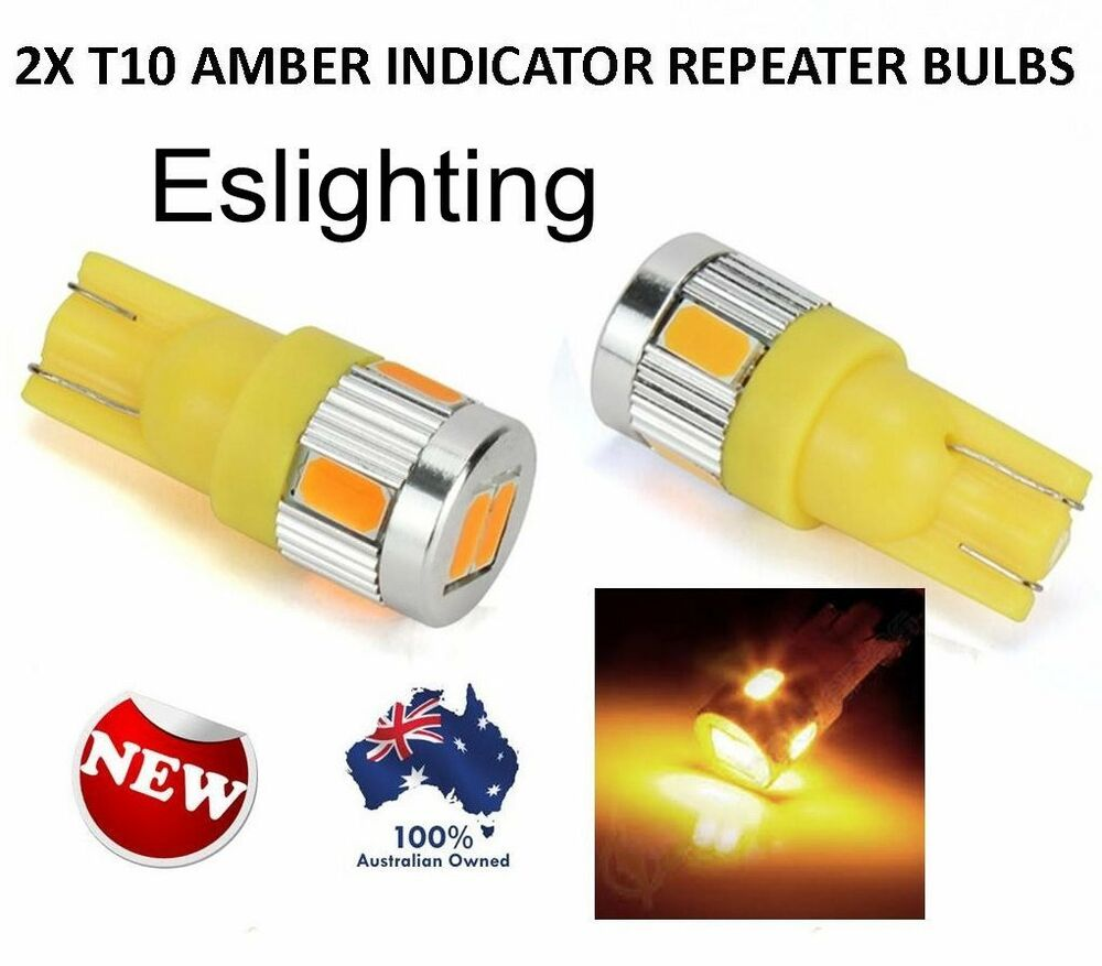 2X T10 12V W5W AMBER INDICATOR REPEATER LED CAR TAIL SIDE