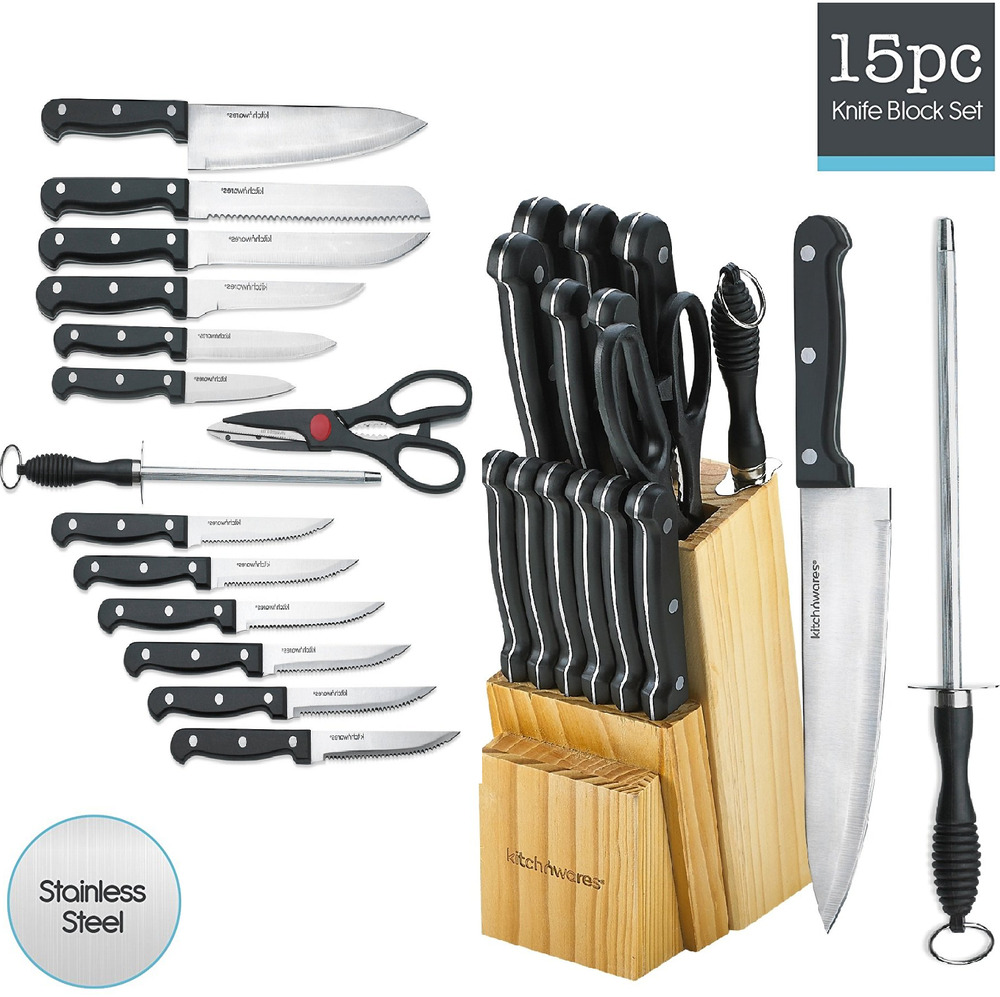 stainless steel kitchen knives set kitchen knife set 15 piece block stainless steel chef cutlery steak knives new ebay 8665