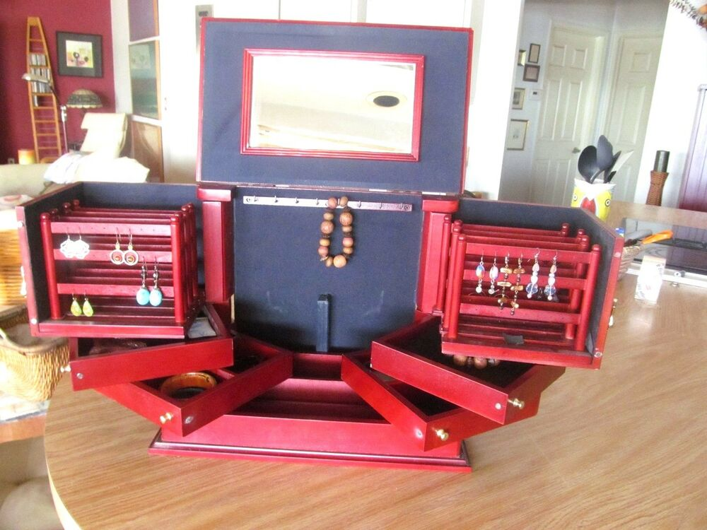 LORI GREINER CHERRY COLOR WOOD JEWELRY ORGANIZER ARMOOIRE ...