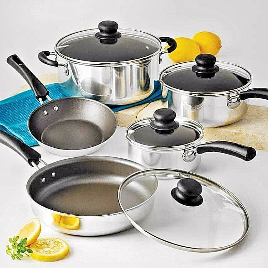 Cookware Set Cooking Nonstick Pots Pans 9 Piece Kitchen Polished Aluminum Lid Ebay