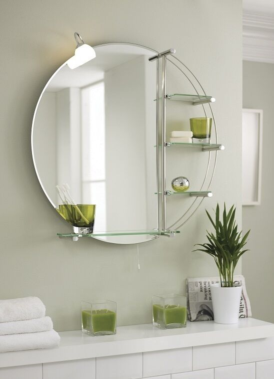 800mm round bathroom mirror with light and shelves wall - Round bathroom mirror with lights ...