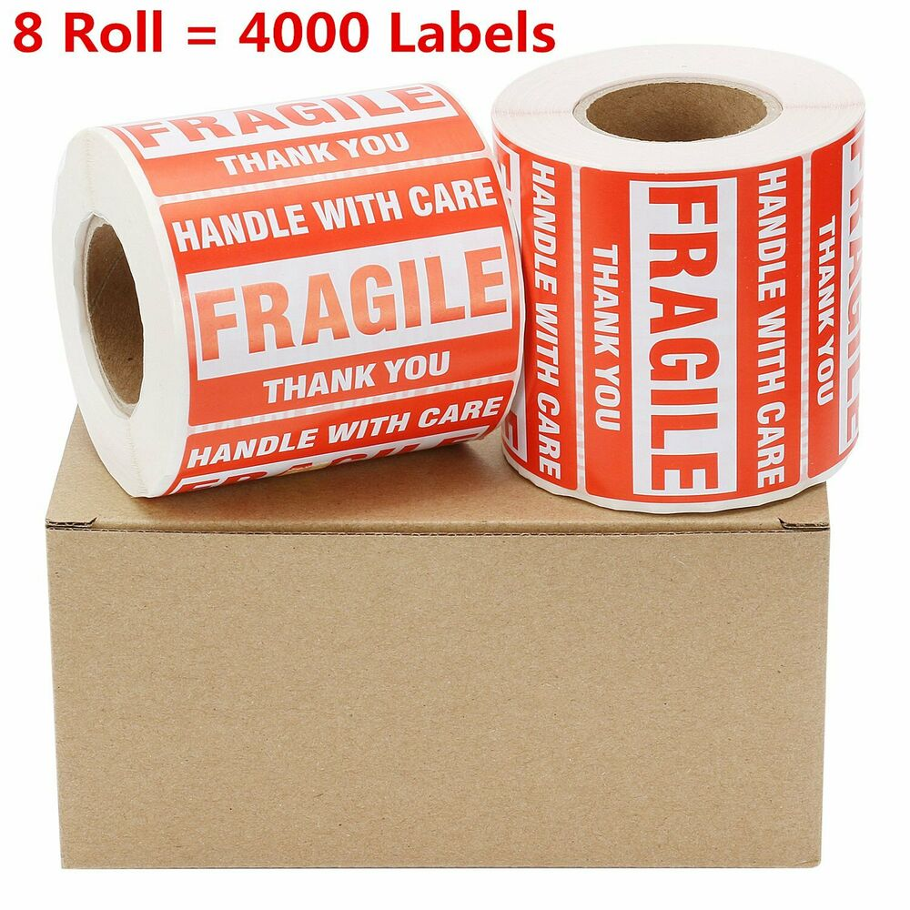 Fragile Stickers 1 Roll 2 x 3  500 Labels Handle Care Thank you Shipping High