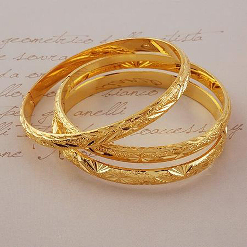 Gold Jewelry Bracelets: 3pcs/lot Hand Engraved 24k Gold Filled Bangle Dia60mm