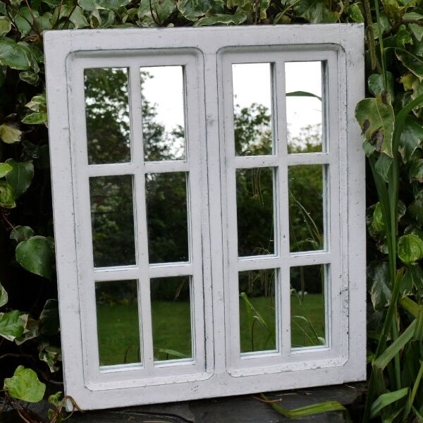 White wall mirror shabby vintage chic window panel french for Mirror window wall decor