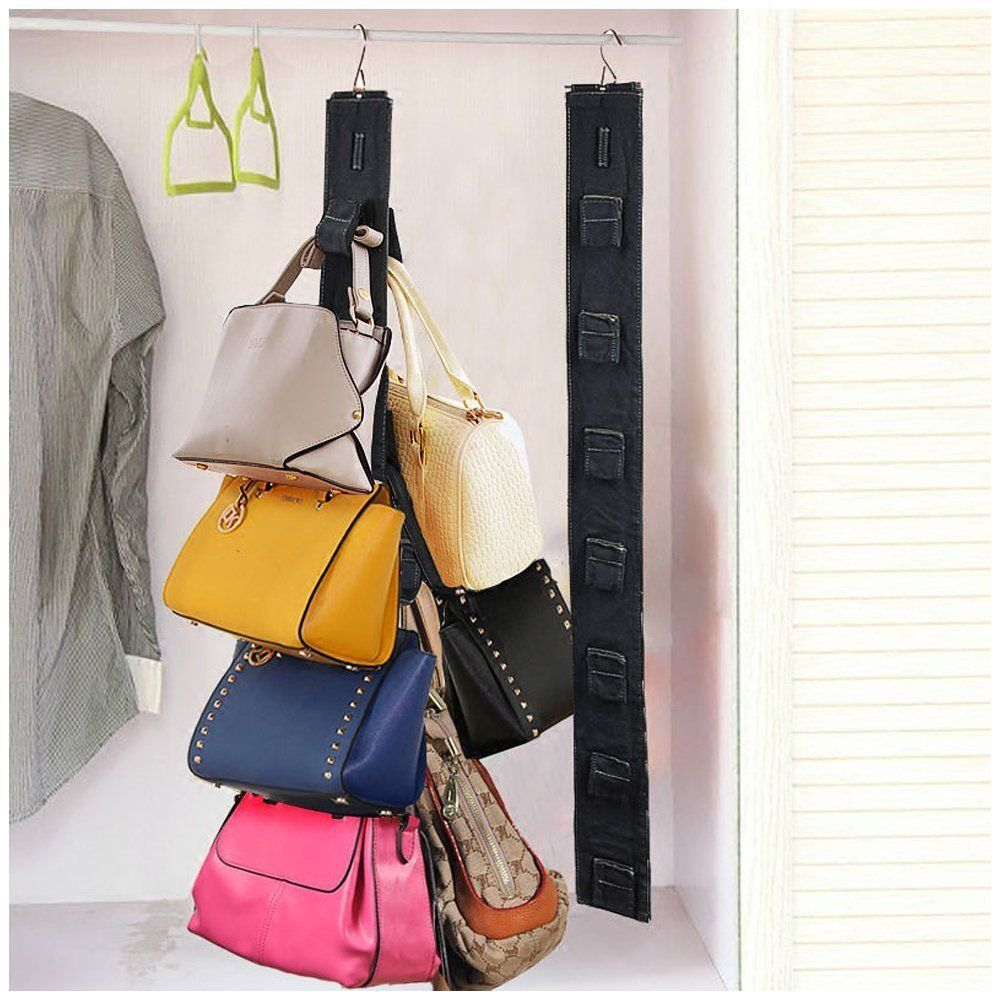 Travelmall hanging purse rack handbag closet organizer for Hooks to hang purses