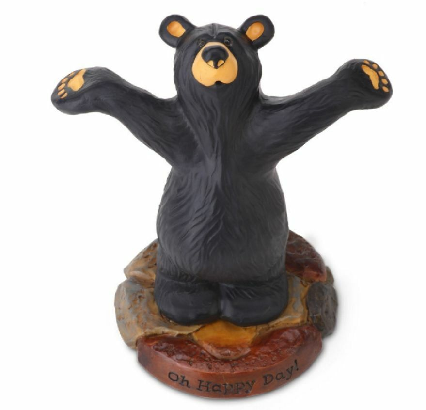 Bearfoots bears happy bear figurine by jeff fleming big