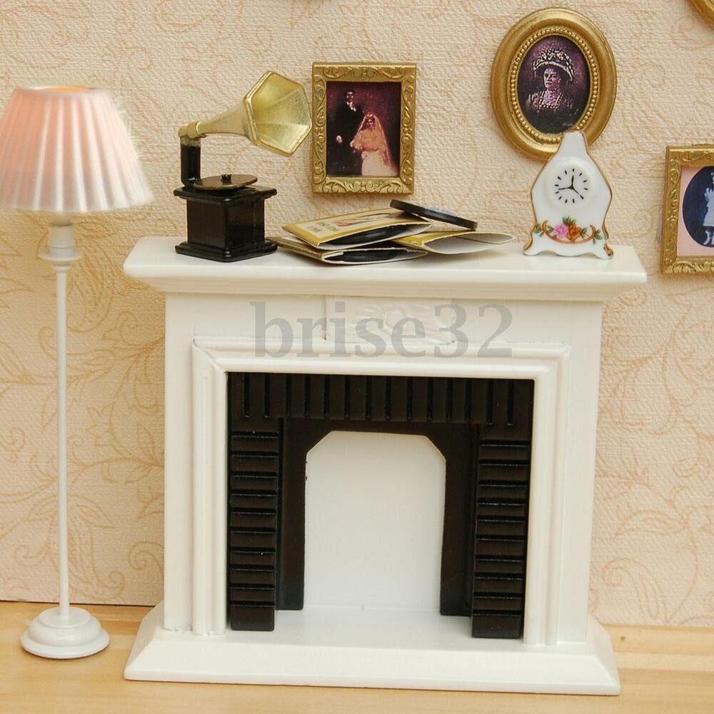 1 12 Scale Miniature White Fireplace Dollhouse Home Decor Furniture Accessories Ebay