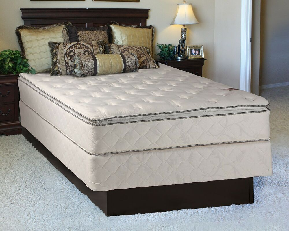 the sunset plush inner spring pillowtop queen size mattress and box set ebay. Black Bedroom Furniture Sets. Home Design Ideas