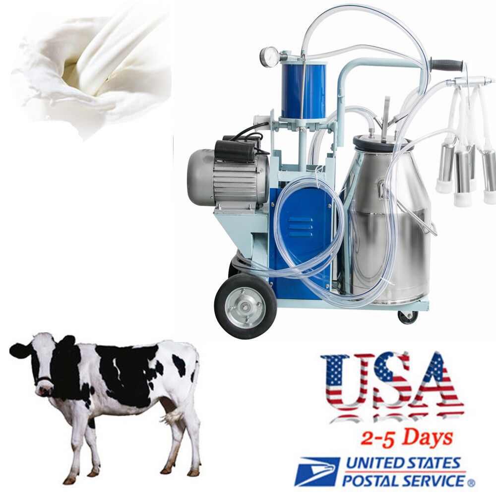 electric milking machine for farm cows bucket piston vacuum pump milk dairy usa ebay. Black Bedroom Furniture Sets. Home Design Ideas