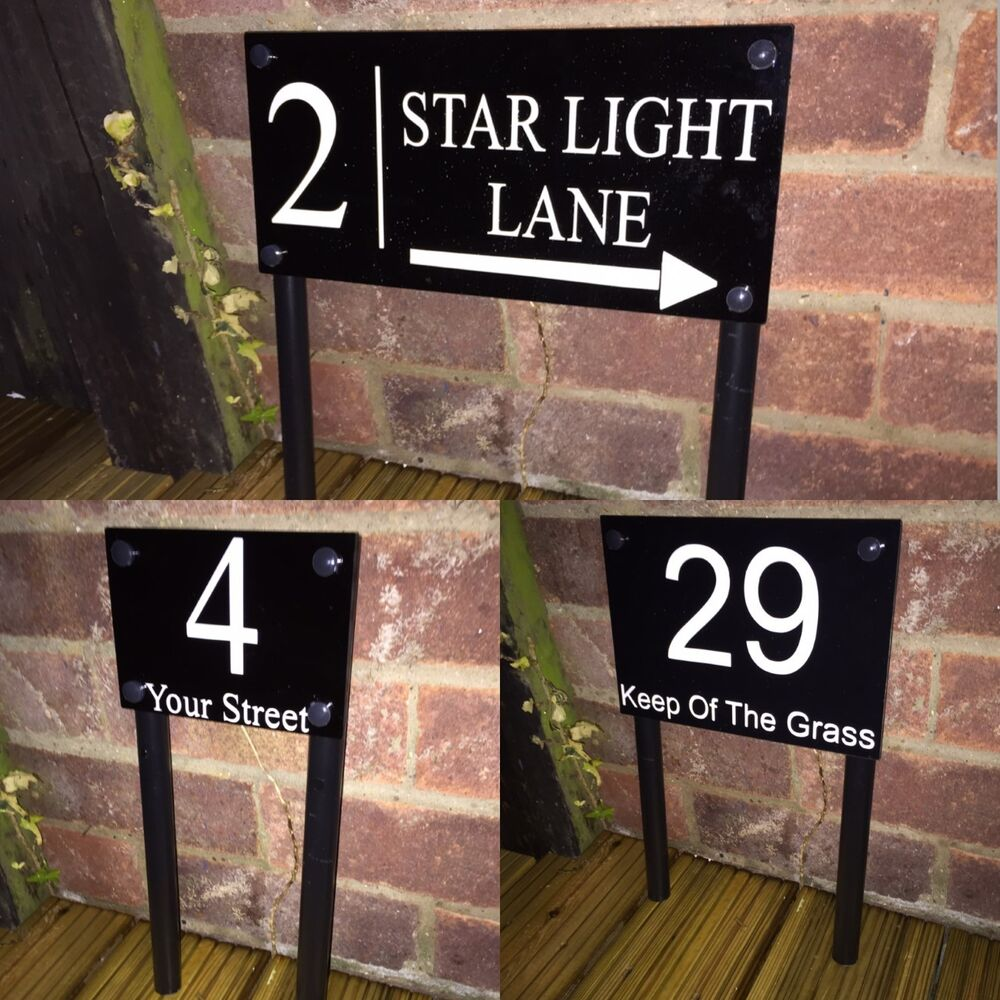 Freestanding modern house sign door number address plaque for Modern house number plaques