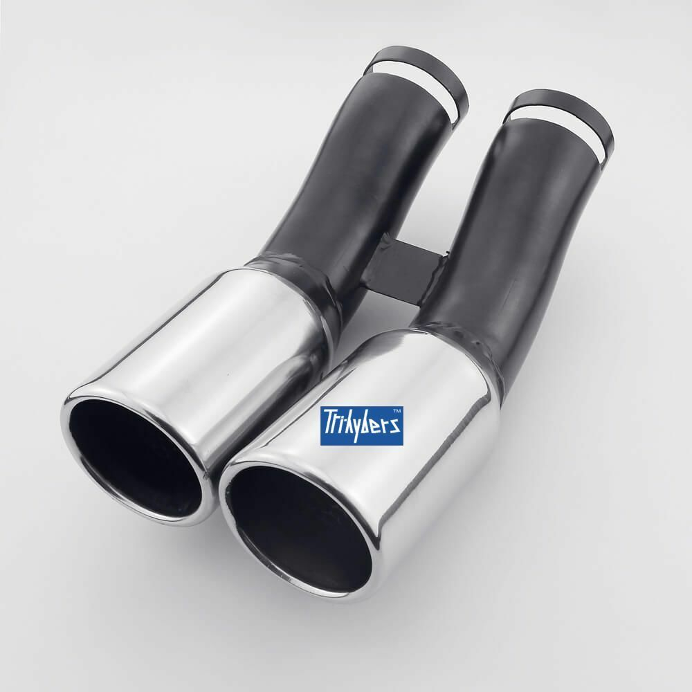 70 Mm Dual Round Exhaust Tip For Vw Golf 4 Iv Mk4 Amp New