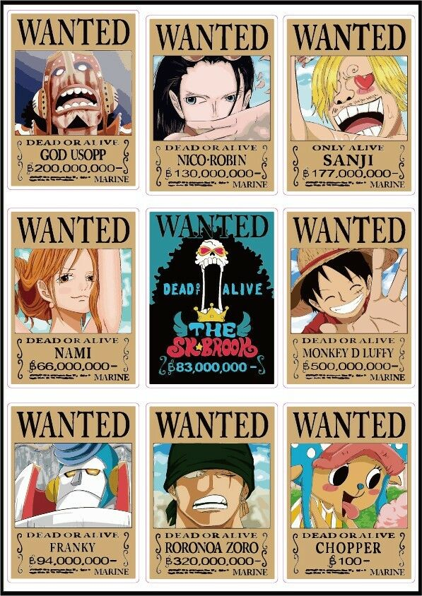 One piece latest wanted posters luffy chopper usopp new world luggage stickers ebay - One piece wanted luffy ...