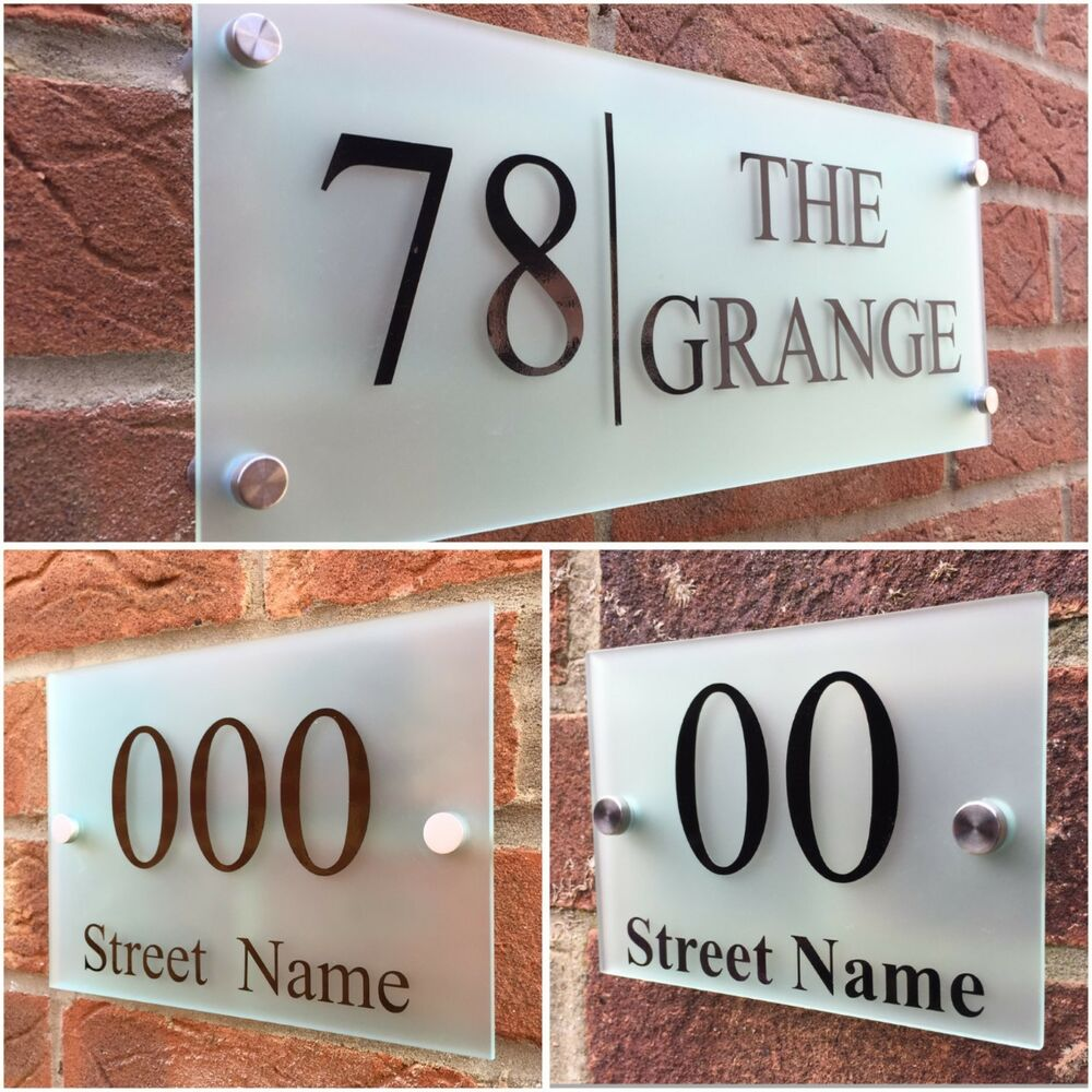 Modern house sign plaque door number street frosted glass for Contemporary house names