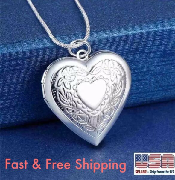 Wholesale 925 Sterling Silver Heart Necklace, Locket Photo Pendant 18