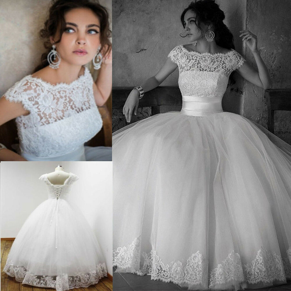 Cheap white ivory ball gown wedding dresses lace bridal for White wedding dress cheap