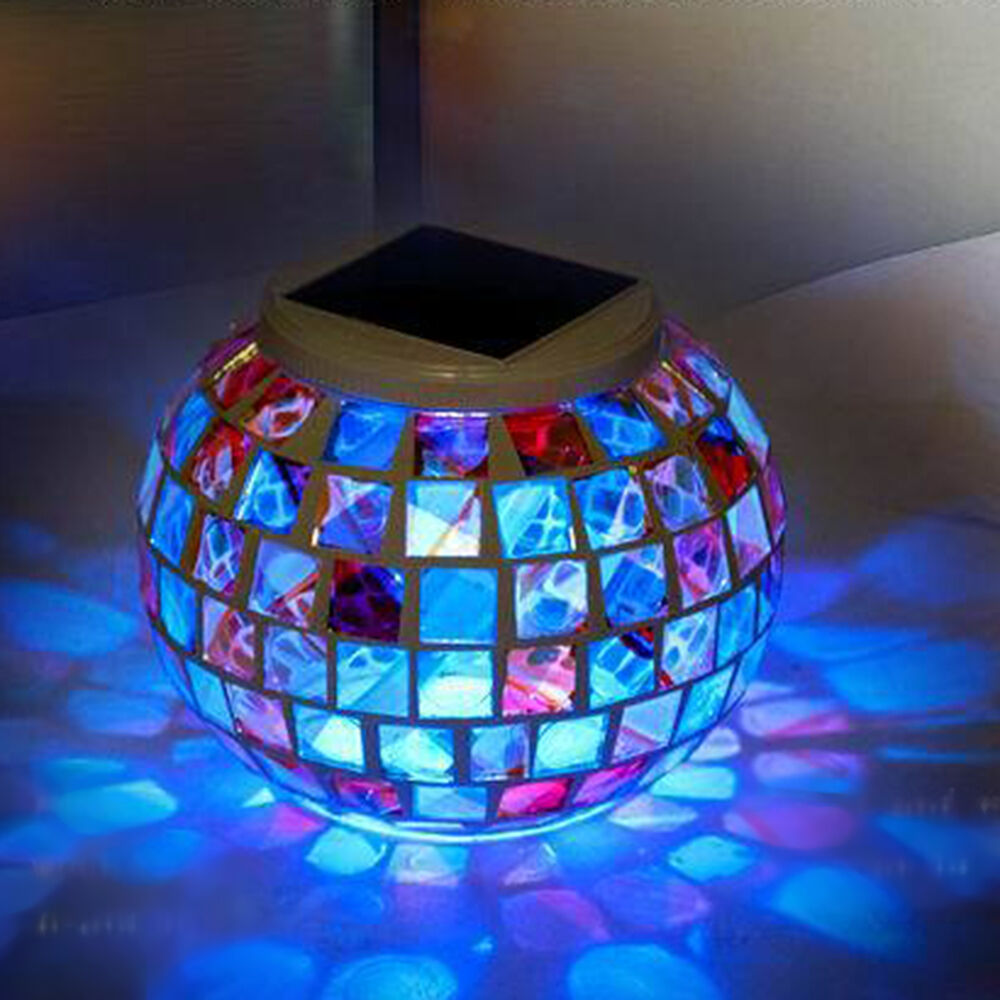 Color Changing Solar Power Mosaic Yard Led Outdoor Landscape Light Garden Us Ebay