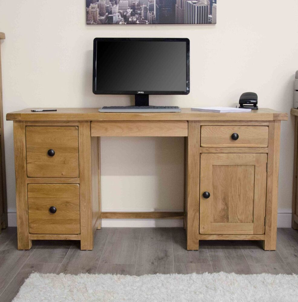 Original Rustic Solid Oak Twin Pedestal Computer PC Desk