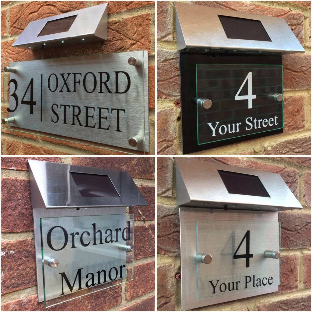 Modern House Sign Plaque Door Number Street Glass