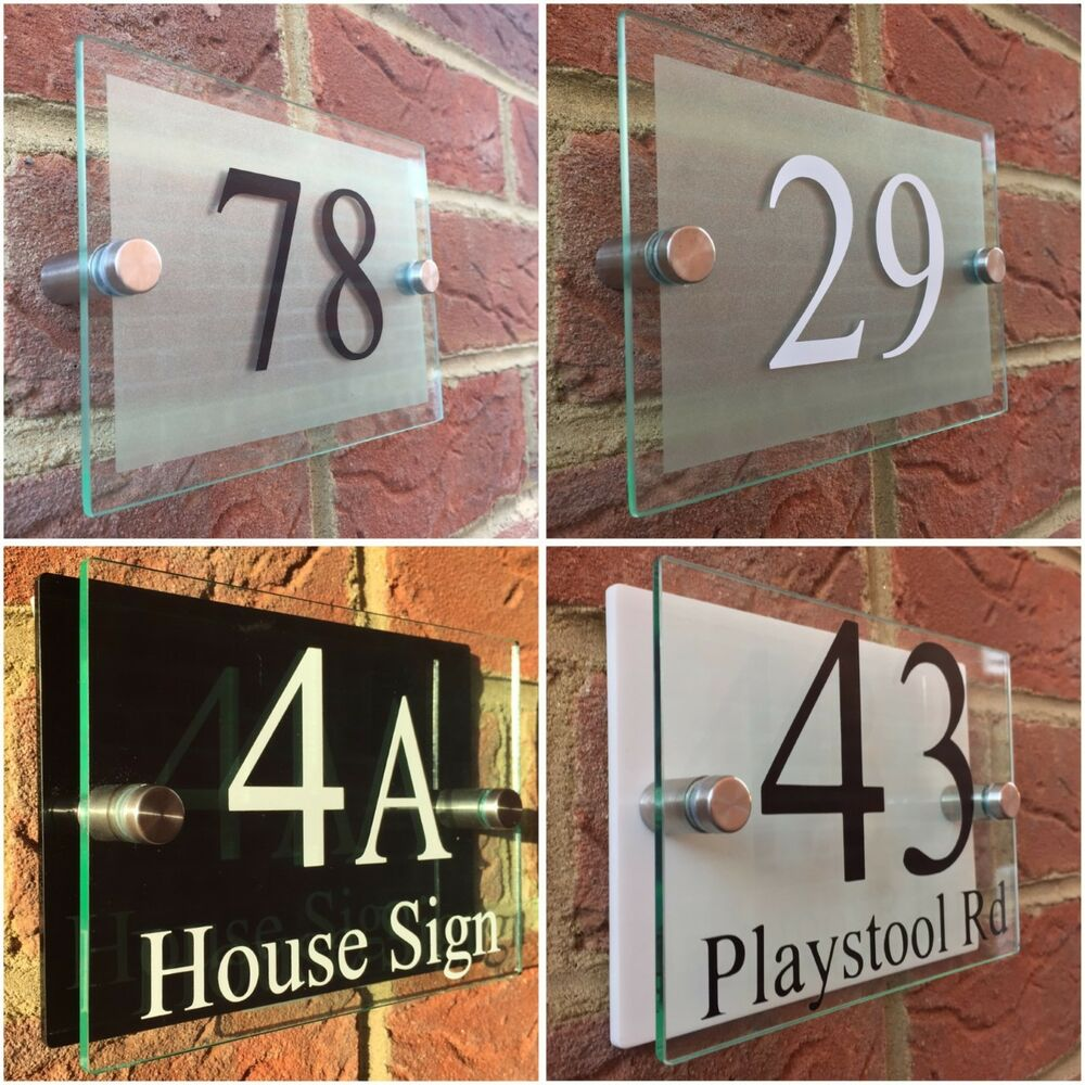 Modern house sign plaque door number street glass effect for Contemporary house names