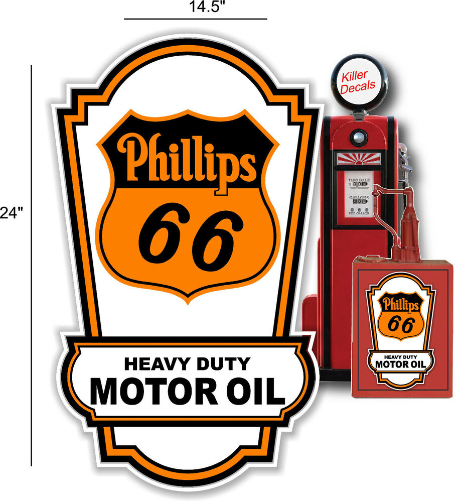 24 X 14 Phillips 66 Oil Sign Lubster Side Decal Oil Can