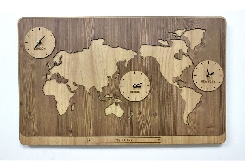 Map Wall Decor Diy: Large World Map Wooden Wall Clock DIY Puzzle Home Decor