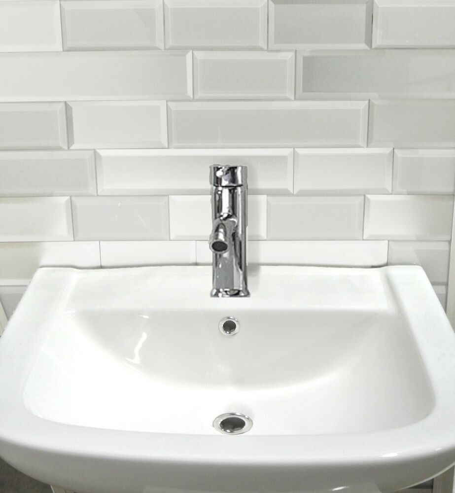 White glass peel and stick tile kitchen bathroom wall for Stick on tiles for bathroom