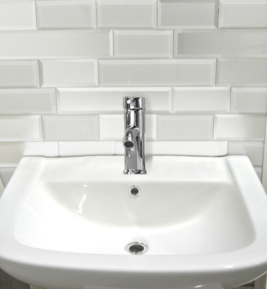 white glass peel and stick tile kitchen bathroom wall backspalsh subway tile ebay. Black Bedroom Furniture Sets. Home Design Ideas