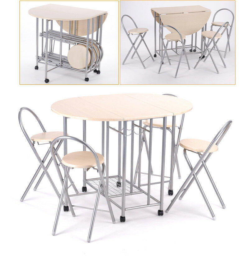 Extending dining table and 4 chairs small kitchen folding for Small dining set with bench