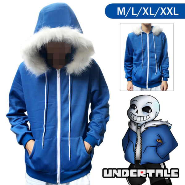 Undertale Sans Cosplay Blue Hoodie Hooded Jacket Winter Coat Sweater Costume Hot