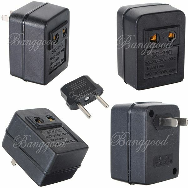 convertisseur 220v vers 110v ac 20w transformateur adaptateur eu plug neuf ebay. Black Bedroom Furniture Sets. Home Design Ideas
