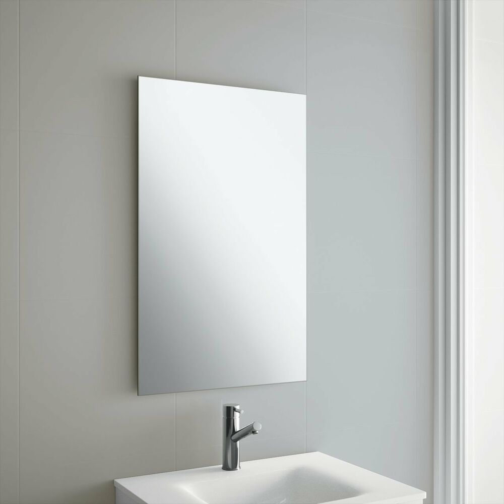 Frameless bathroom mirror with wall hanging fixings ebay - Pictures of bathroom mirrors ...