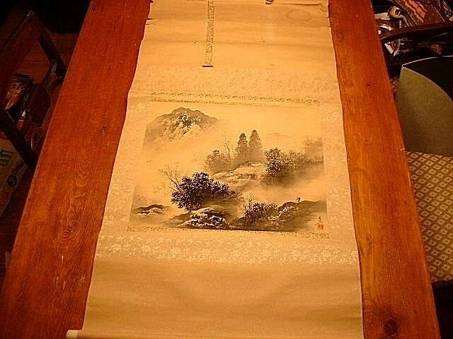 Antique Japanese Wall Hanging Silk Scroll Signed Ebay