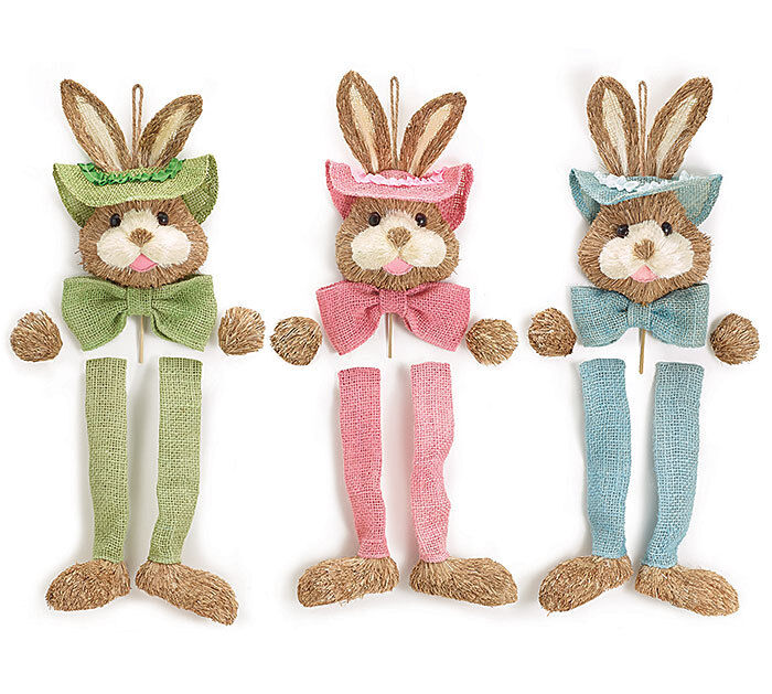 New Sisal Bunny For Easter Decor Bunny Wall Hanging Easter Mesh Wreath Supply Ebay