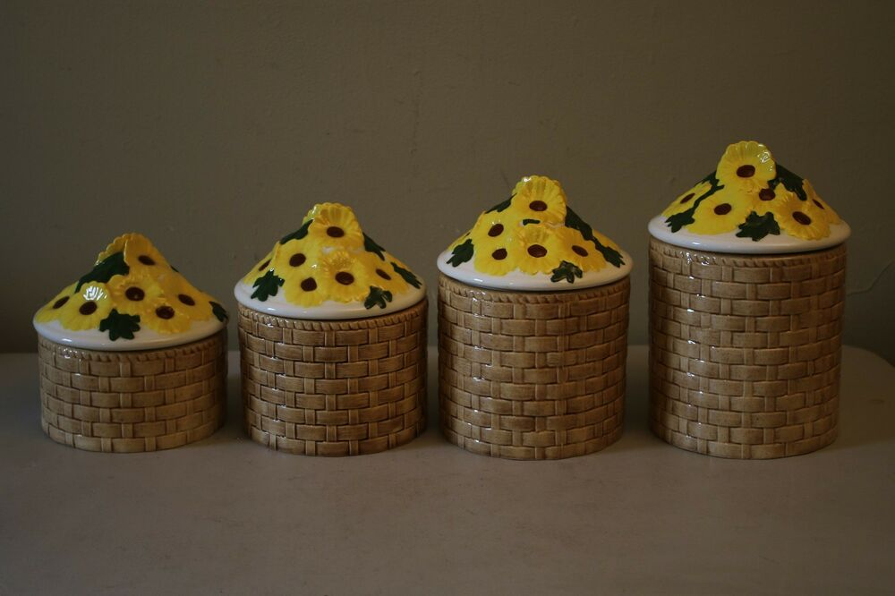 Vintage Ceramic Sunflower Kitchen Canister Set 4 Pieces Ebay