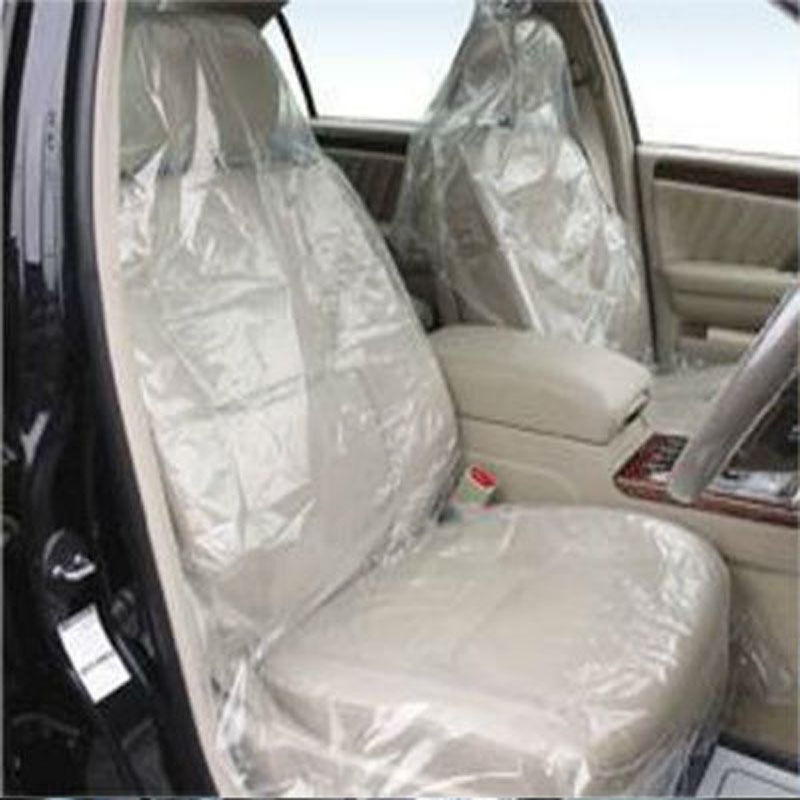 hot sale 100 pcs car auto cover clear disposable plastic films seat covers new ebay. Black Bedroom Furniture Sets. Home Design Ideas