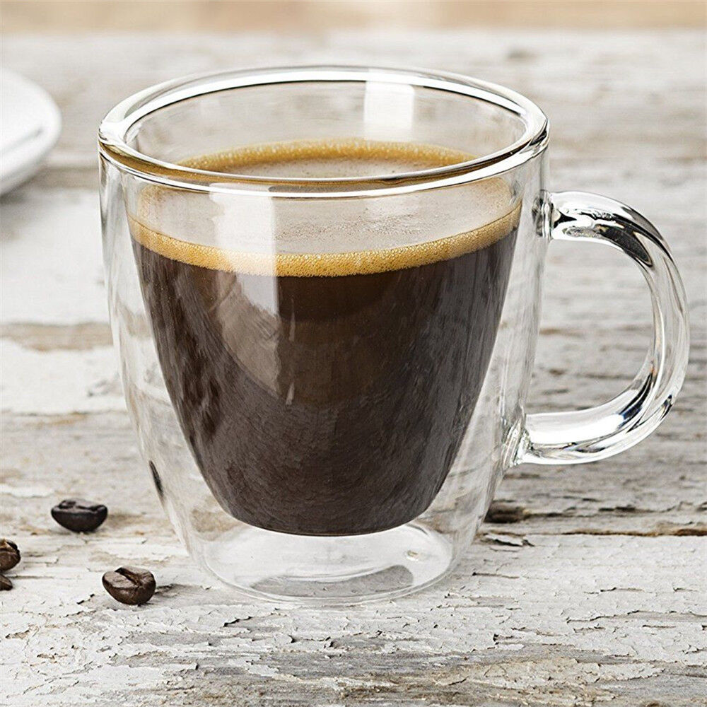Double Wall Insulated Glass Espresso Mugs Clear Glass