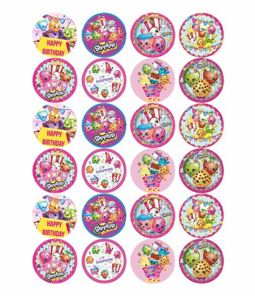 24 X Large Shopkins Edible Cupcake Toppers Birthday Party