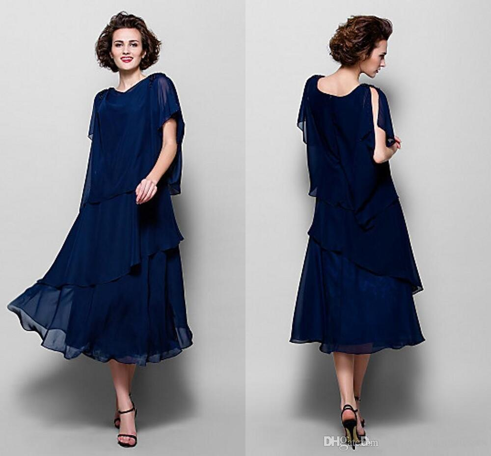 Plus Size Mother Bride Dresses: Tea Length Plus Size Blue Mother Of The Bride Suit Outfit