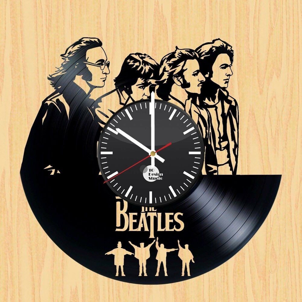 The Beatles Music Vinyl Record Modern Vintage Wall Clock
