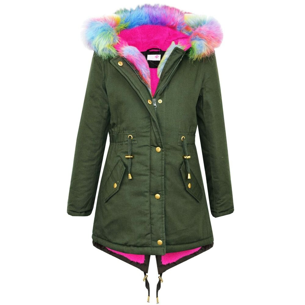 Girls Hooded Jacket Kids Rainbow Fur Parka School Jackets