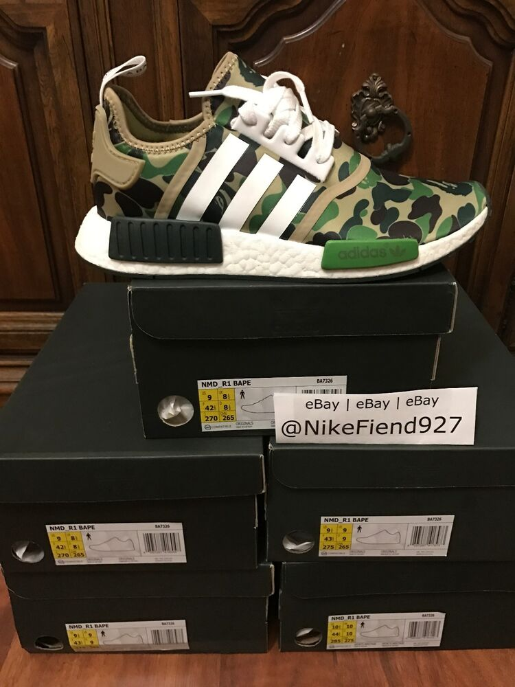 5410c15b88522 Adidas NMD R1 Bape Green Camo Army Bathing Ape Nomad Runner BA7326 - USA  SELLER