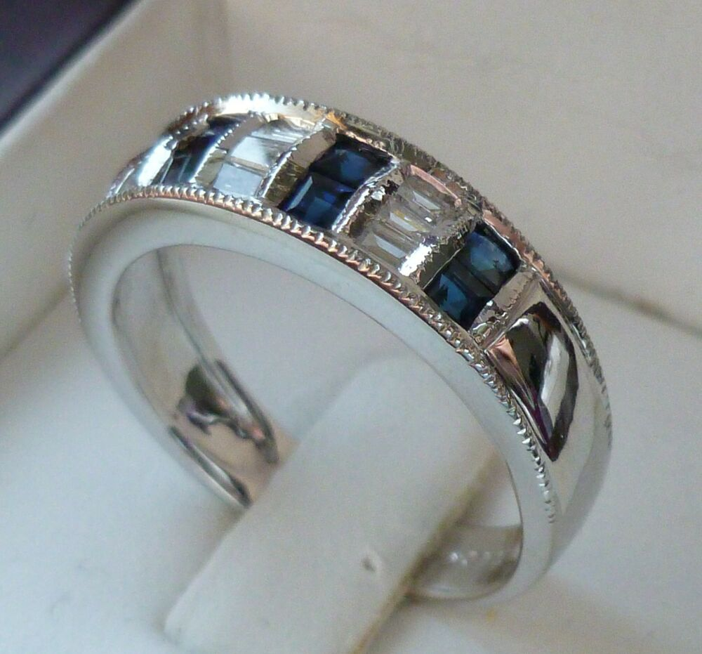 Zales NEW Blue Sapphire & Diamond Anniversary Ring Band 14K White Gold