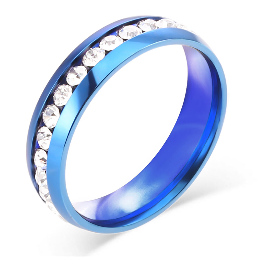 Size 4 12 Stainless Steel Wedding Engagement Ring: Men Women Stainless Steel Topaz Wedding Engagement Blue
