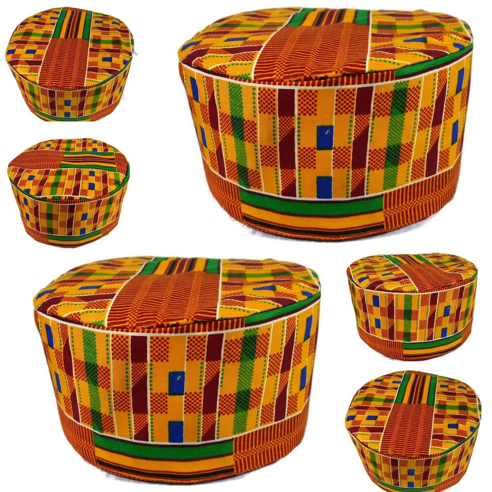 0fd5ad27e2e Details about African Kente Hat Dashiki Cap Traditional Kufi Koofi Beanie  High Quality Gold P1