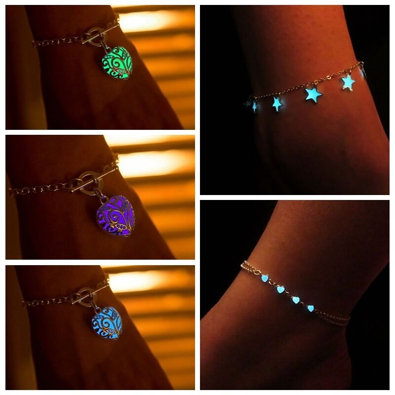 fluoreszierende liebe herzen sterne fee glow leuchtende armband kette mode ebay. Black Bedroom Furniture Sets. Home Design Ideas
