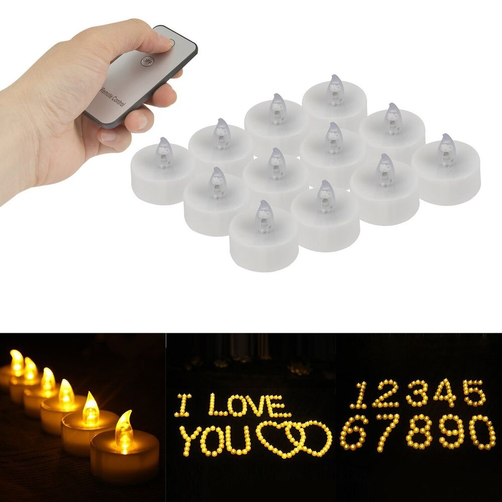 12Pcs Remote Control LED Tea Lights Battery Operated ...