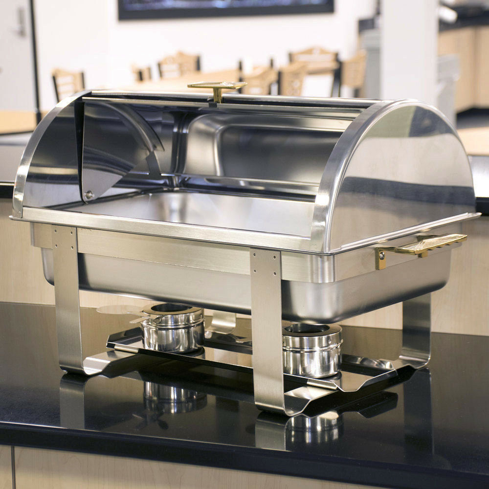 roll top deluxe full size 8 qt stainless steel buffet chafer chafing dish set ebay. Black Bedroom Furniture Sets. Home Design Ideas